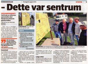 Reportasje i Romerikes Blad 25. august 2014.